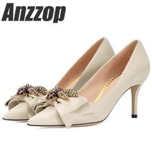 Купить с кэшбэком ANZZOP 2019 New High Heels Shoes Women Pumps Stiletto Thin Heel Pointed Toe Bowtie Bee Matal Decoration Zapatos Shallow Dress