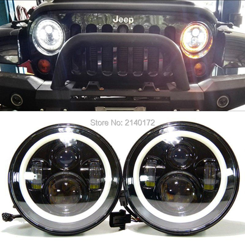 7inch 40w LED Headlight for Jeeps Wrangler with angel eyes hi / lo beam off road 4x4 use motorcycle offroad truck SUV boat 7inch led motorcycle headlights 7 round 40w high low beam with angel eyes for 97 2015 jeeps wrangler jk