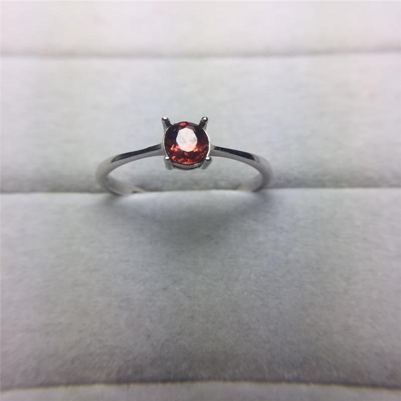 925 Sterling Silber 4 * 6mm Luxus Oval Cut natürlichen roten Granat - Edlen Schmuck - Foto 1