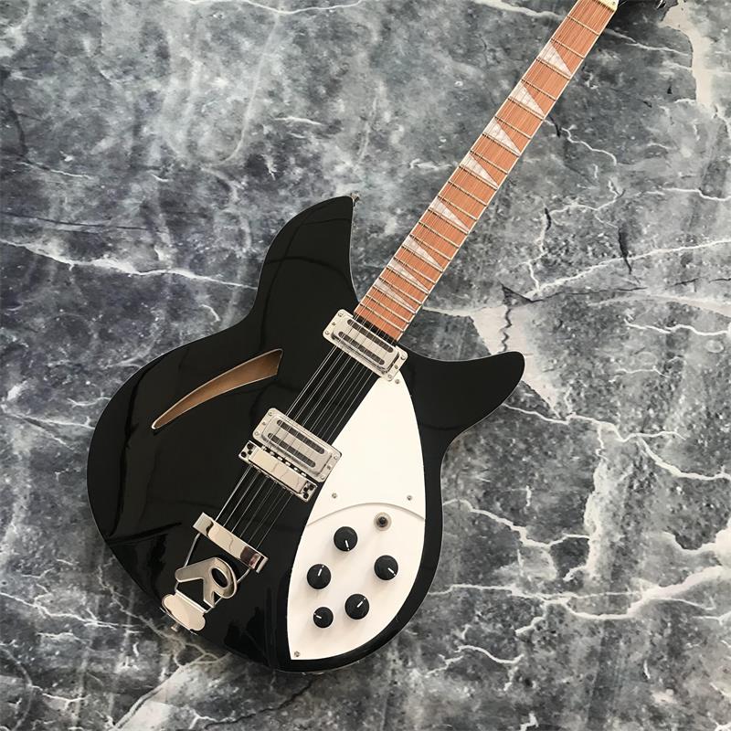 39 inch black 12 string guitar rickenback 360 electric guitar two output mahogany fingerboard. Black Bedroom Furniture Sets. Home Design Ideas