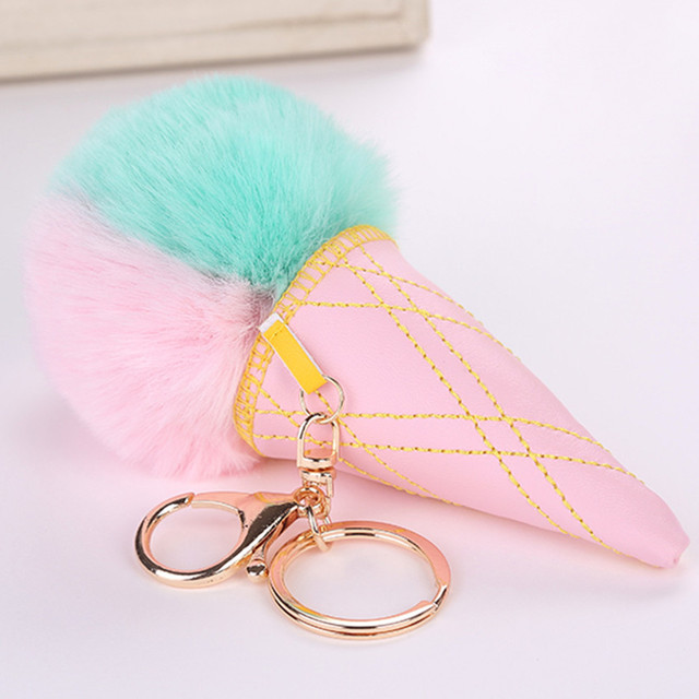 2018 Newest Fluffy Fur Pom Pom Ice Cream Keychain Women Fuax Rabbit Fur  Ball Pompom Key Chain Pompon Key Ring Llaveros Chaveiros 1d13bad4cd