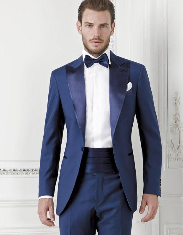 2015 Dark Blue Groom Tuexdos Custom Made Slim Fit Groomsmen Men Wedding Suits Prom Formal Occasion Tuxedos ( Jacket+Pants+Bow Tie+Girdle)