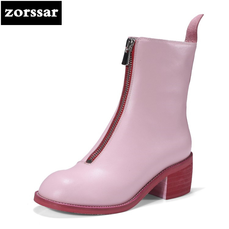 {Zorssar} 2019 Genuine Leather Woman Martin boots Fashion Winter fur Shoes Female Ankle snow boots High Heels Shoes Botas mujer стоимость