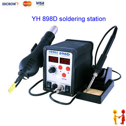 YIHUA YH-898D SMD Soldering station, rework stations ,hot air gun , solder iron,with power 2 in 1 soldering station saike 852d rework station soldering iron hot air rework station hot air gun 2in1 with holder and gift e