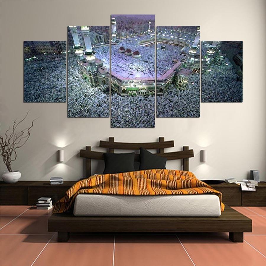 Print painting for living room home decor 5 panel kaaba for 10x20 living room