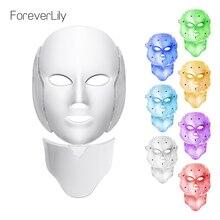 Foreverlily светодио дный свет фотона маска 7 цветов светолечение омоложения кожи, Отбеливание лица Красота ежедневный уход за кожей маска