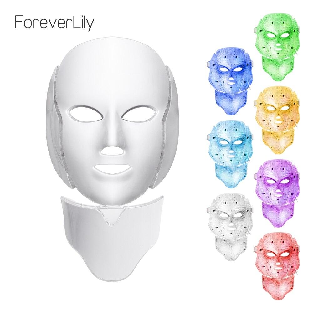 Foreverlily luz LED Photon terapia máscara 7 Color luz rejuvenecimiento de la piel tratamiento blanqueamiento Facial diario belleza cuidado de la piel