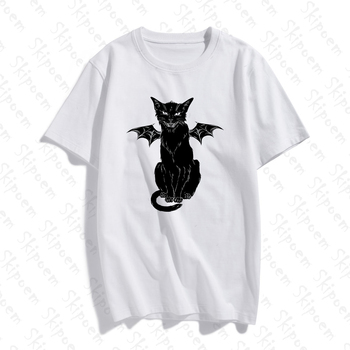 2020 Cotton T shirt Funny Gothic Retro Devil Cat Artwork Print Short Sleeve Tops & Tees Fashion Casual T Shirt Brand Clothing new cotton women t shirt friends tv fashion art fashion artwork print short sleeve tops