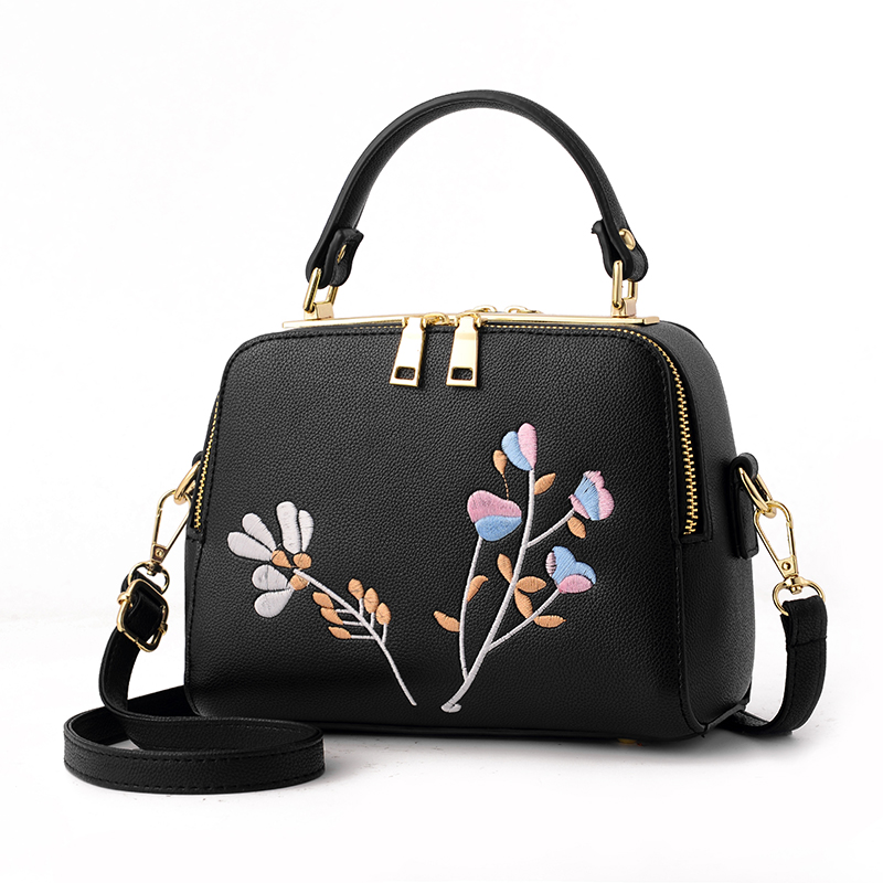 FLYLEAF Pu Leather Women Leather Handbag Famous Brand Women Crossbody Women Shoulder Bag Pouch Embroidering Flower