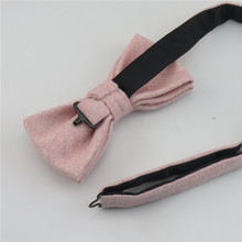 100% Wool Pink Tie Set Men's Ties Bowtie Pocket Square Handkerchief Suit Set For Men Wedding Party Dress Accessories Gravata