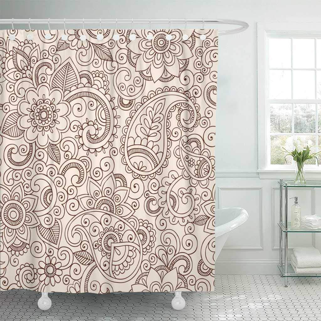 Shower Curtain With Hooks Indian Henna Mehndi Tattoo Doodles Paisley Flowers Design Bandana Floral Abstract Swirl Bathroom