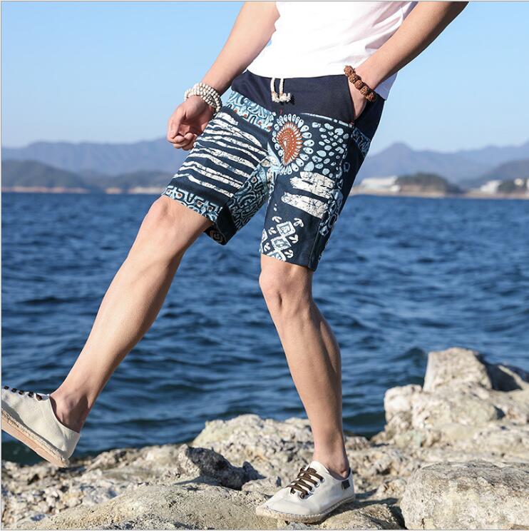 Летние мужские Шорты Повседневная Корейская версия брюки свободные большие размеры в этническом стиле ретро Мужская пятиминутного брюки м