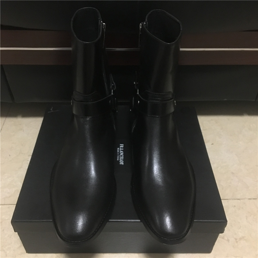 Real Picture High End Handmade Cowhide Classical Black Side Zipper Wedge Wyatt Harry Men Boots Ankle Strap Denim Chelsea Boots real picture luxury handmade classical wyatt homme harness high top chelsea men boots wedge real cow leather suede boots