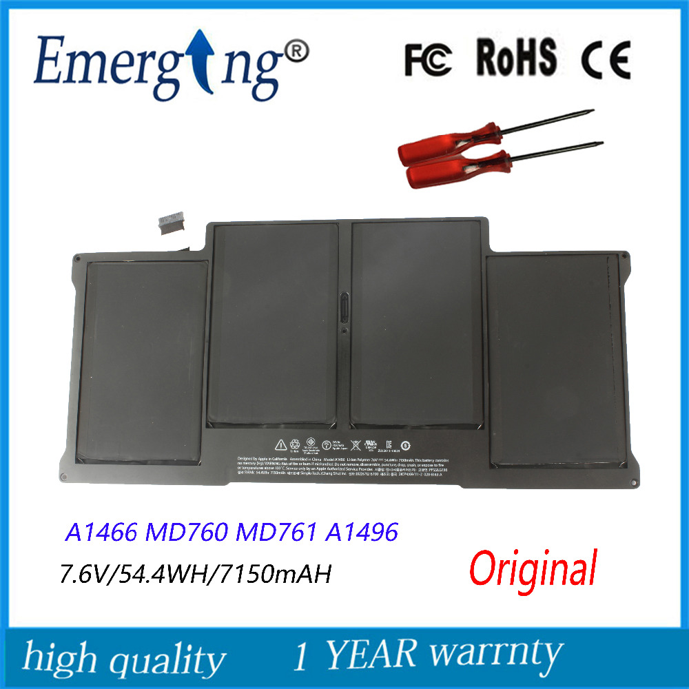7.6v 54.4Wh New  Original A1496   Laptop Battery for Apple MacBook Air 13 A1466 2013 2014 MD760 MD761 With tools new topcase with tr turkish turkey keyboard for macbook air 11 6 a1465 2013 2015 years