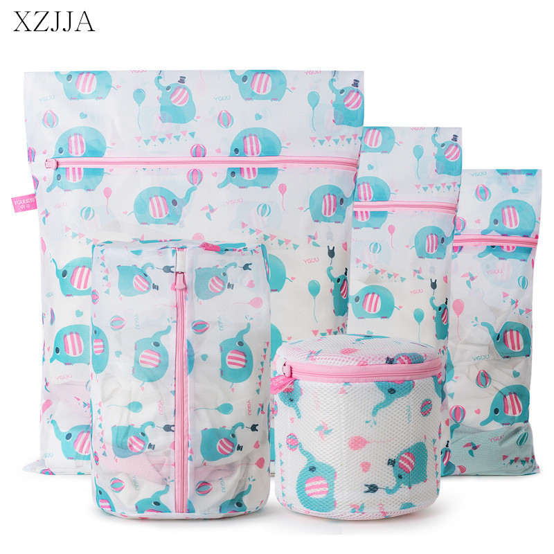 XZJJA 4PC/SET Cute Animal Laundry Bags Clothing Underwear Bra Socks Washing Pouch Washing Machine Bag Zipper Protector Net Case