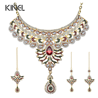 Luxury Indian Gold Color Kundan Jewelry Sets Red Zircon Attractive Necklace Choker 3Pcs Bridal Jewelry Sets