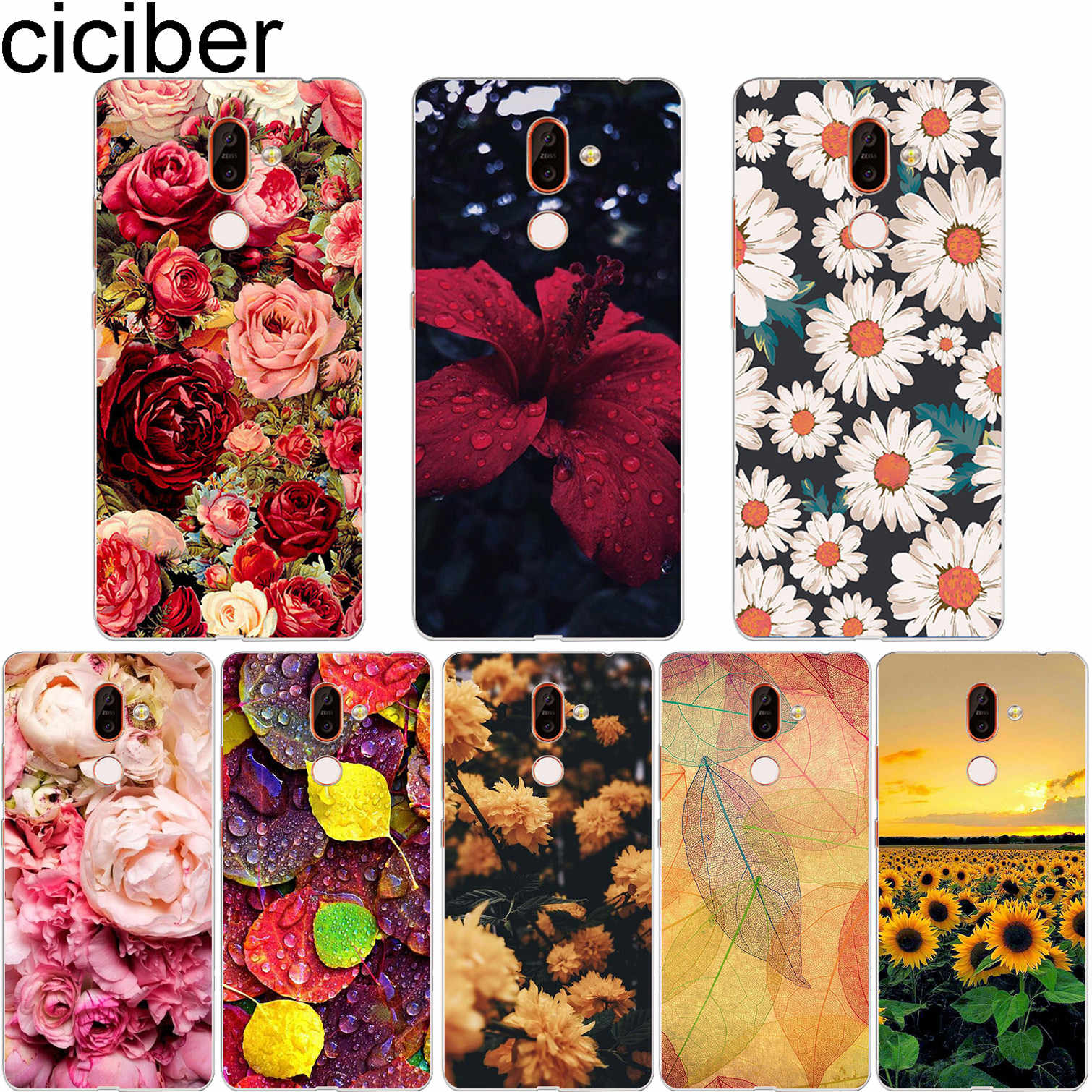 ciciber for Nokia 2.1 5.1 3.1 6.1 7.1 8.1 1 8 7 6 5 3 2 Plus 9 PureView Phone Case For Nokia X7 X6 X5 X3 Soft Coque TPU Flower