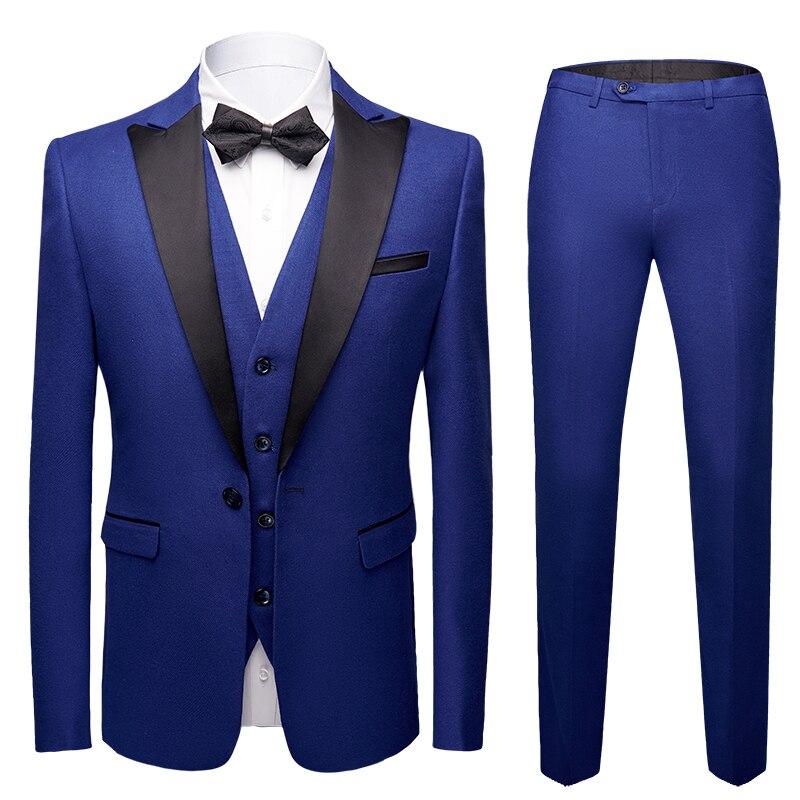 2019 hommes bleu simple boutonnage mariage marié costume avec pantalon smoking pour hommes costumes de mariage bal meilleur homme costume (veste + pantalon + gilet)