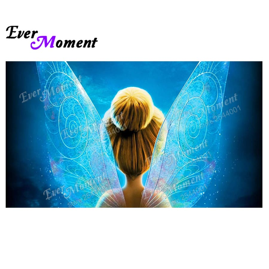 Ever Moment DIY Diamond Painting Fairy With Wings 5D Needlework Embroidery Rhinestones Full Layout Square Stone Decor ASF664