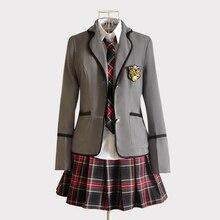 דגמים חדשים ילדה יפני בית ספר JK אחיד JCosplay תלבושות שחור אדום משובץ חצאית + חולצות מעיל סטים