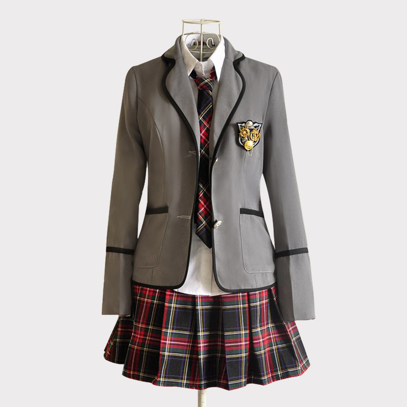 New Models Girl Japanese School JK Uniform JCosplay Costume Black Red Plaid Skirt +Tops Coat Sets