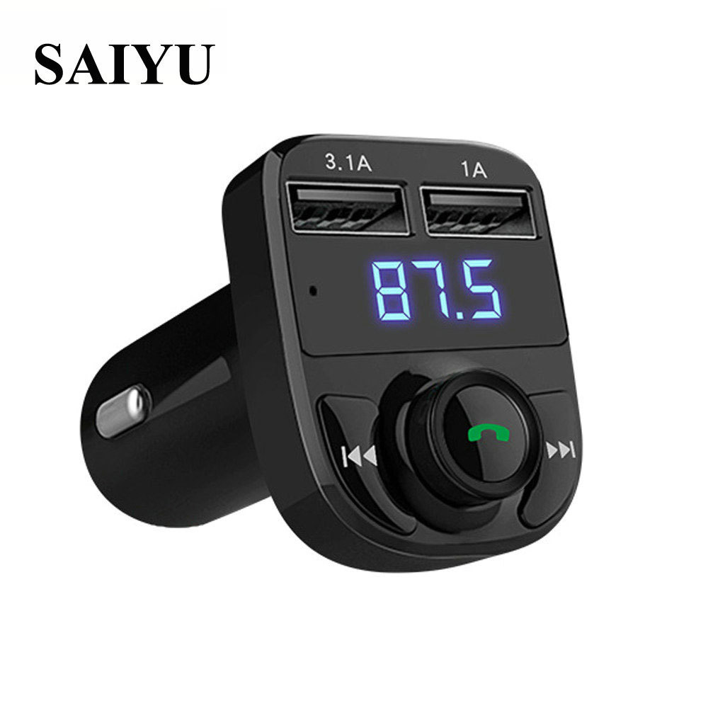 SAIYU Hot Sale Bluetooth Car Kit MP3 Music Player 12~24V FM Transmitter Wireless Radio Adapter Dual USB Charger DropShipping