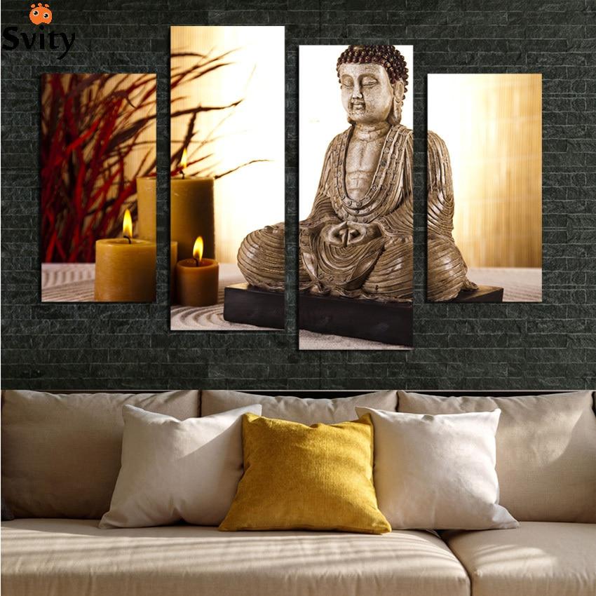 4 Panou Budism Buddha Tablou pe Pânză Buda Antică și lumânare - Decoratiune interioara