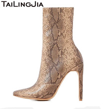 Natural Snake Embossed High Heel Woman Short Boots Women Ankle Zipper Sexy Ladies Pointed Toe Brand Party Wedding Shoes