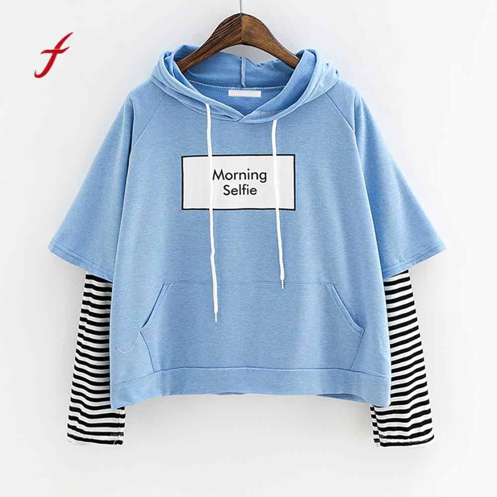 7ba1834c5801 Осень для женщин дамы свитер с капюшоном длинным рукавом спортивная одежда  укороченный Лоскутная Блузка пуловер Топы