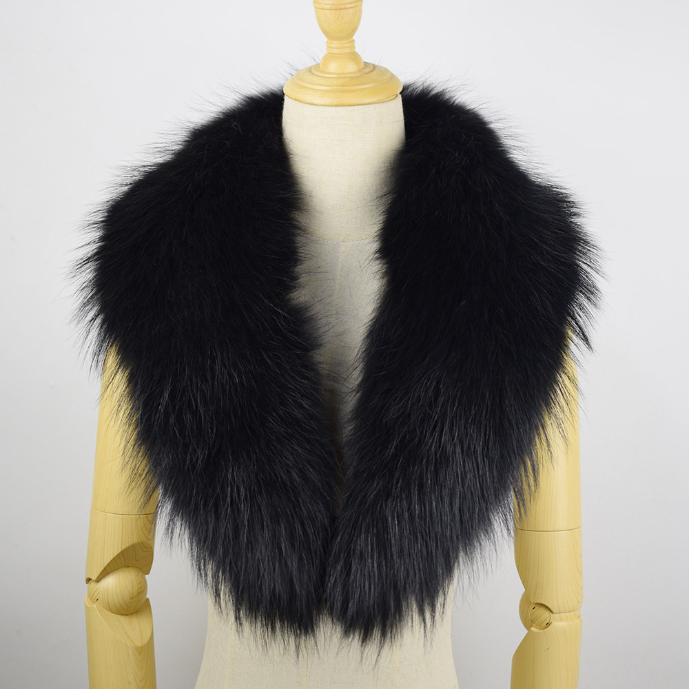 Ms MinShu Genuine Raccoon Fur Collar Scarf For Jacket Detachable Fox Fur Scarf Black Color Big