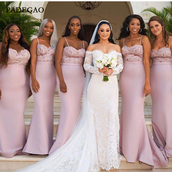 Pink In Stock Mermaid Bridesmaid Dresses For Western Summer Weddings  Lace Appliques Spaghetti Straps Long Maid of Honor Gowns