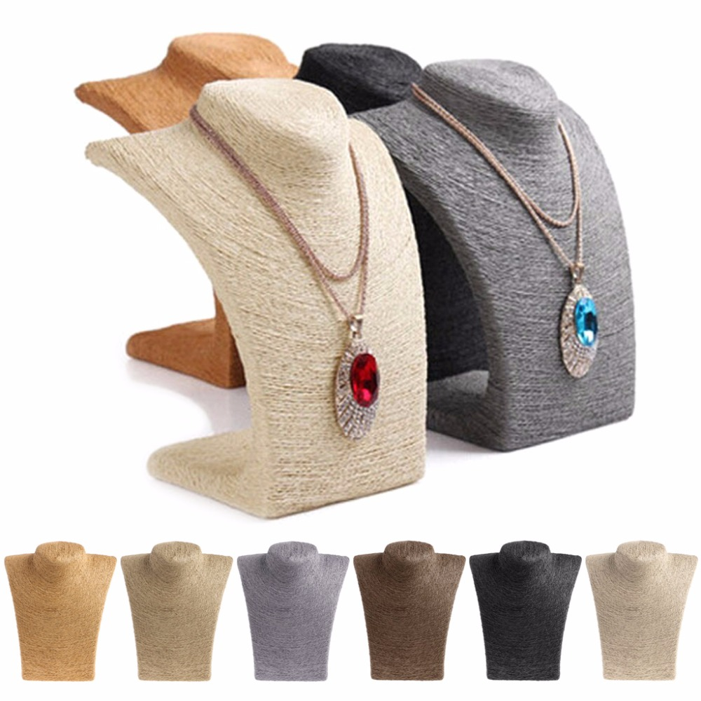 JAVRICK Fashion Woman Rope Mannequin Bust Jewelry Display Stand Shelf Holder Necklace Bust Stand 6 Colors