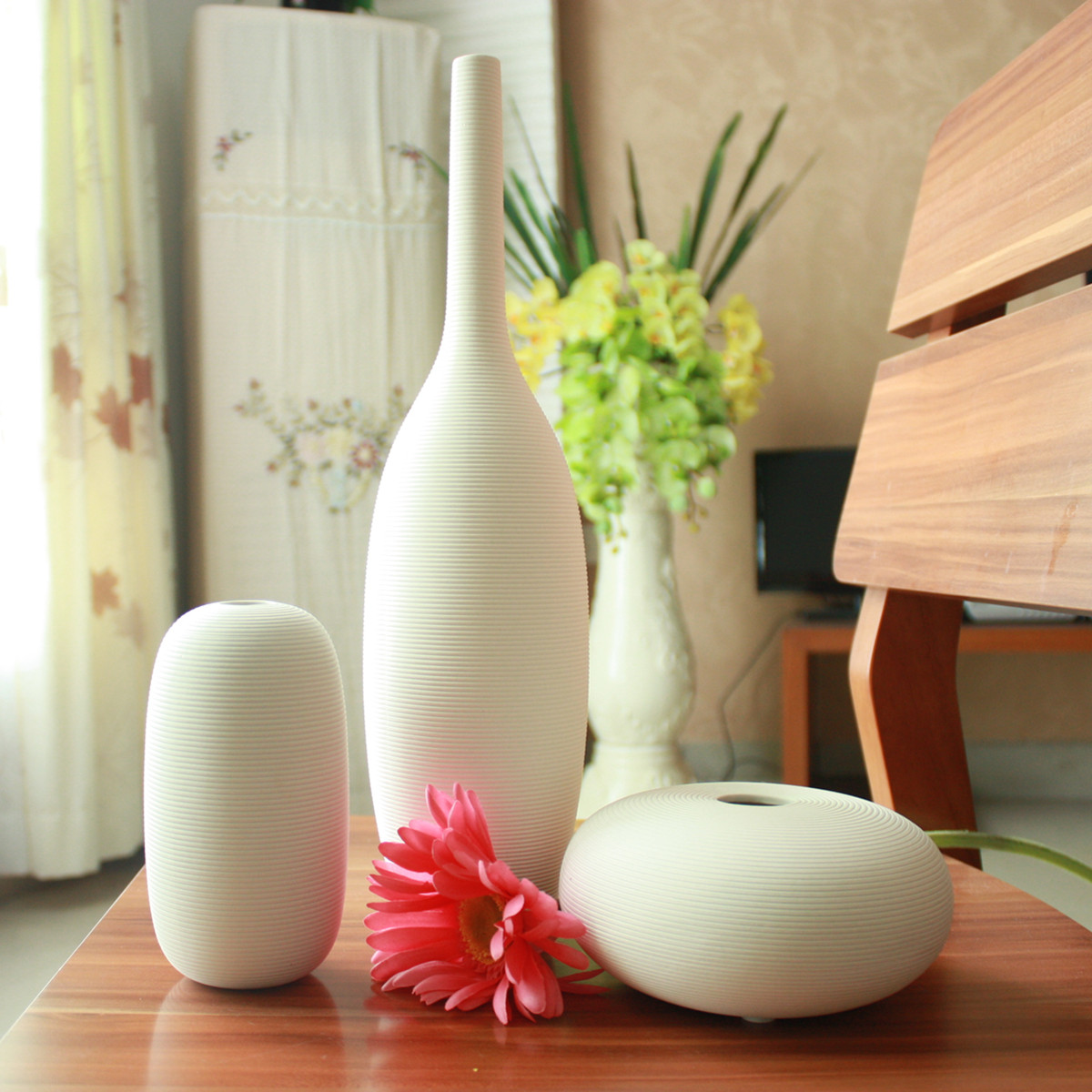 Living Room Vase aliexpress : buy fashion ceramic vase 3pcslot white vase home