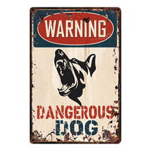 [Kelly66] aviso perigoso cão metal sinal estanho cartaz decoração para casa barra parede arte pintura 20*30 cm tamanho y-2150