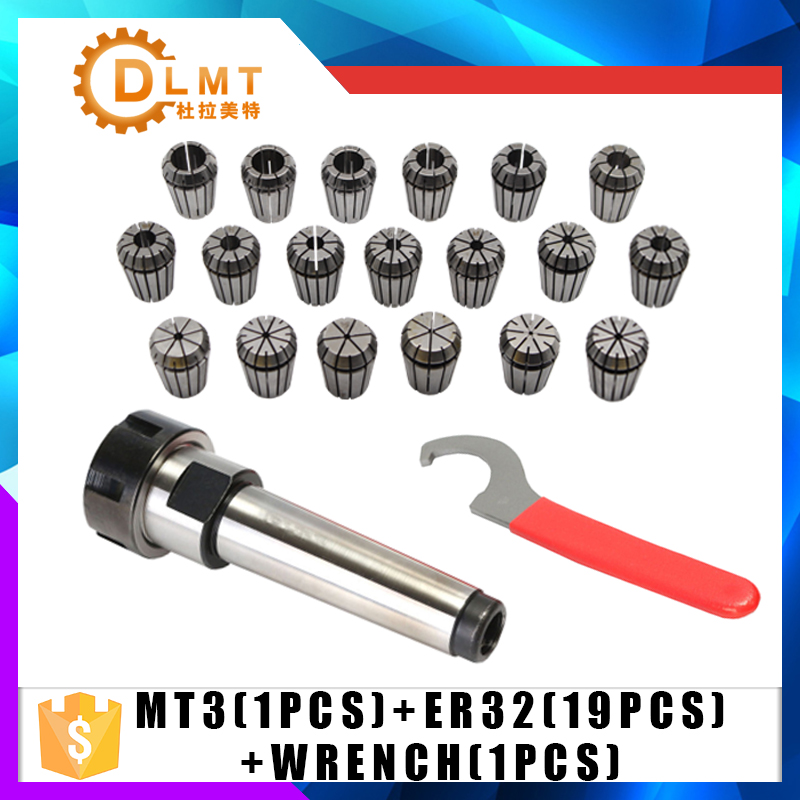 ER32 Spring Clamps 19PCS MT3 ER32 M14 1PCS ER32 Wrench 1PCS Collet Chuck Morse Holder Cone For CNC Milling Lathe tool new 19pcs er32 spring collet set with mt2 er32 m10 collet chuck taper holder for cnc engraving machine and milling lathe tool