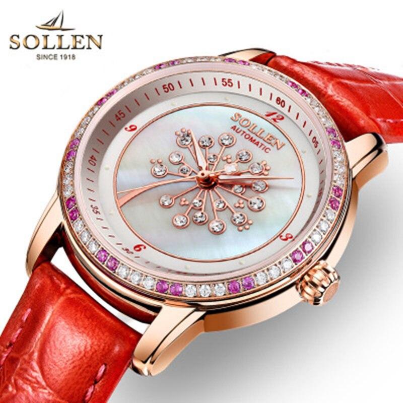 SOLLEN creative mechanical women watch dandelion shells female watches fashion diamond personality leather ladies wristwatches
