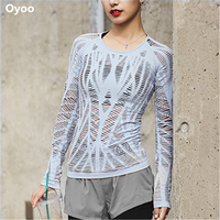 Oyoo Wanderer Long Sleeve Top Sky Blue Cutout Workout Yoga Tops Women Sport Gym Shirts Pink