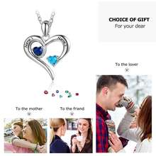 2 Heart BirthStones Necklace With Engraving