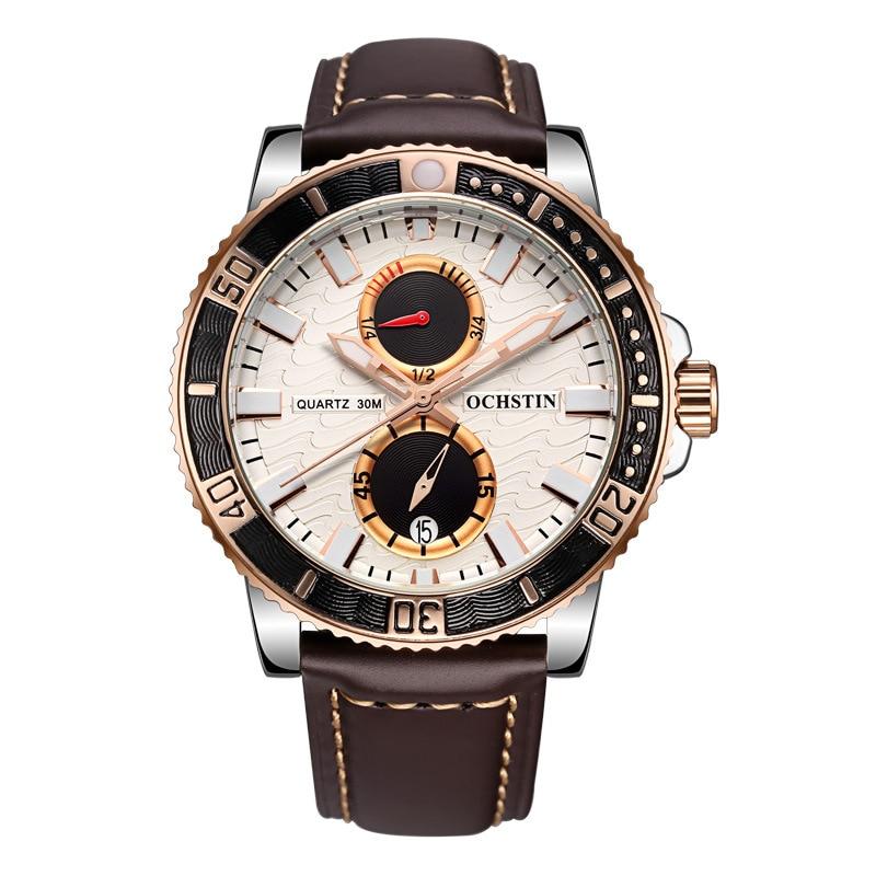 цена на Fashion Men Quartz Watch 2017 Brand New Multi-functional Casual Sports Male Watch Genuine Leather Belt Luminous Men's Watches