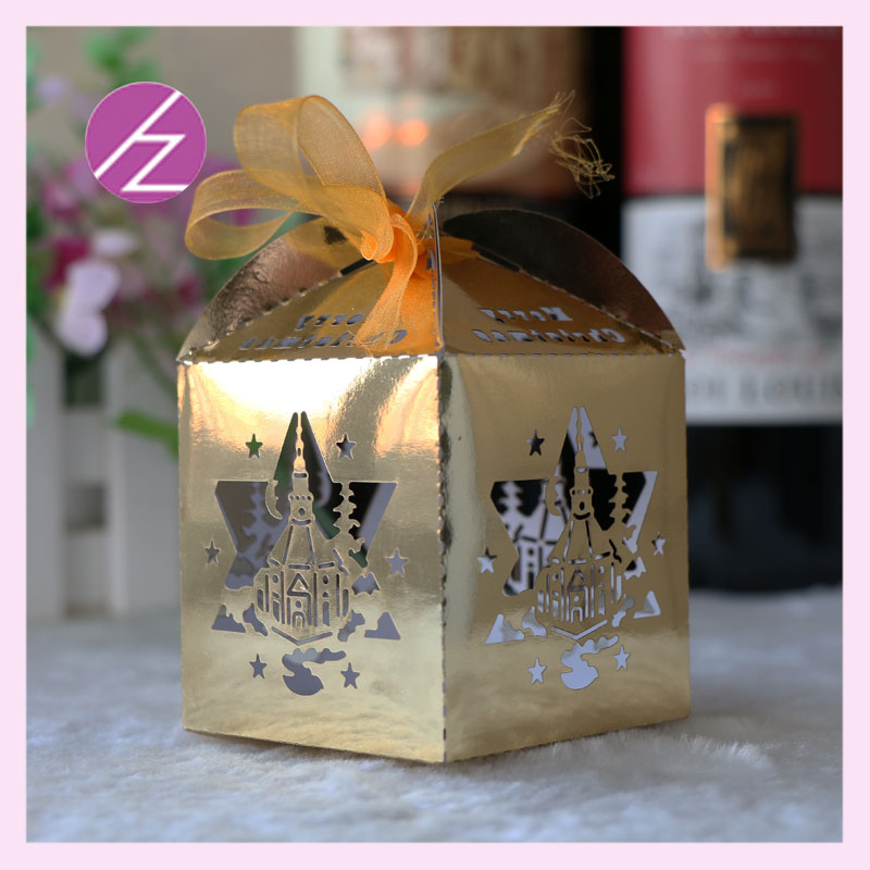 Small Very Cute Candy Box For Wedding Party Indian Cake Boxes Various Designs Shape Bright Metallic Gold Color In Gift Bags Wrapping