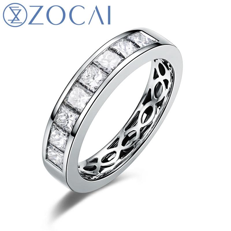 ZOCAI Nyata 18 K emas putih 0.9 ct bersertifikat asli berlian - Perhiasan bagus - Foto 1