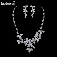 LUOTEEMI Tiny CZ Crystal Micro Paved Leaf Shape Statement Necklace Bridal Luxury White Gold Plated Wedding Jewelry Set For Women