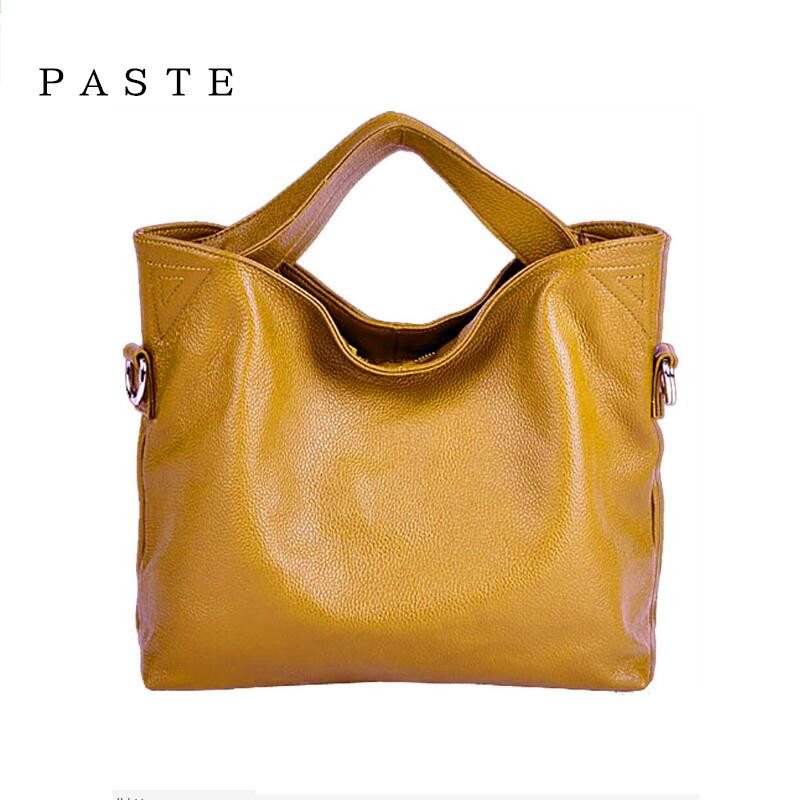 PASTE Brand Women Handbag Genuine Leather Tote Bag Female Classic Shoulder Bags Solid Ladies Handbags Zipper Messenger Bag Bolsa  brand women s handbags genuine leather bag ladies women messenger bags shoulder bag female tote alligator bag have ribbons me582