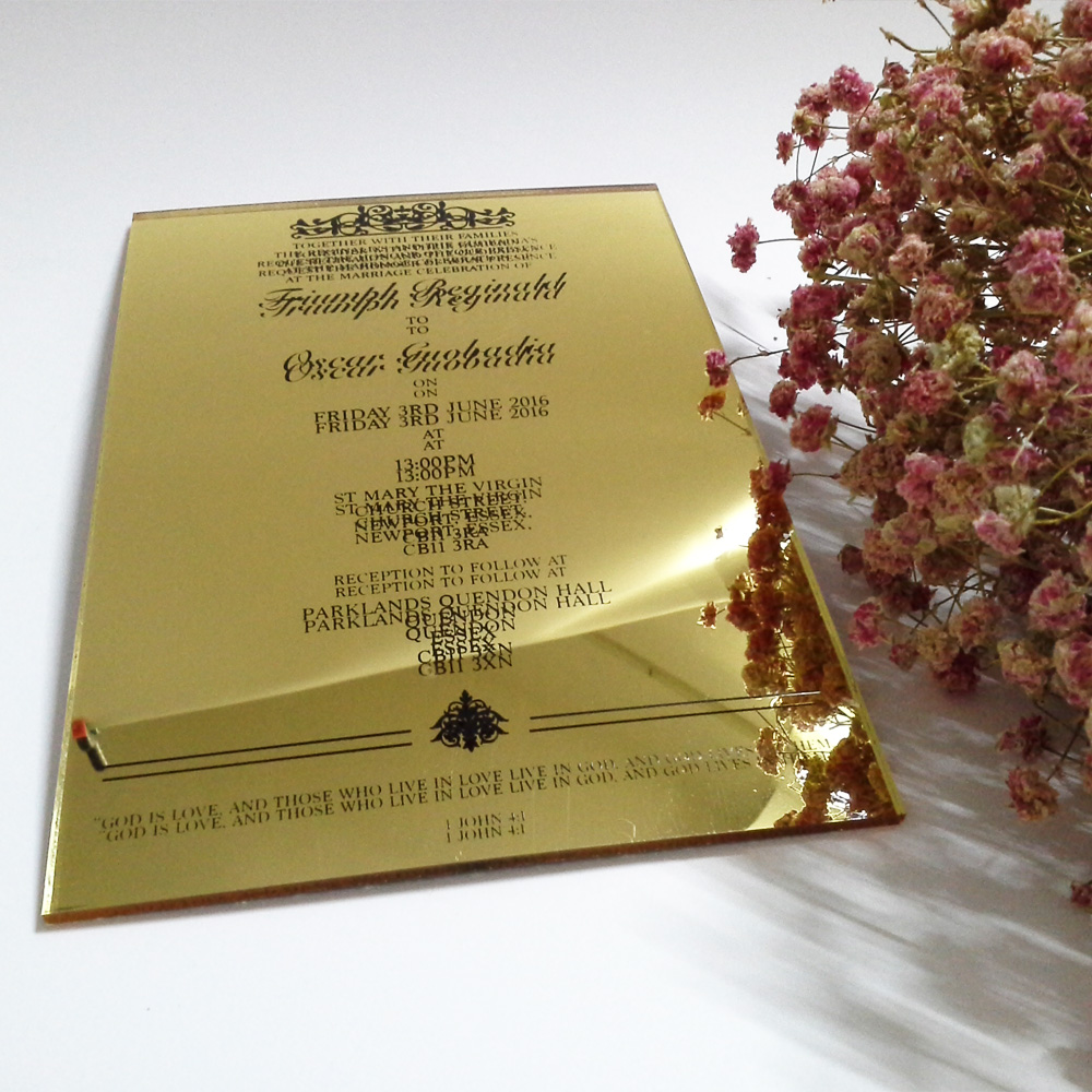 Cost Of Printing Wedding Invitations: Customized 5*7 Inch Golden Mirror Acrylic Wedding