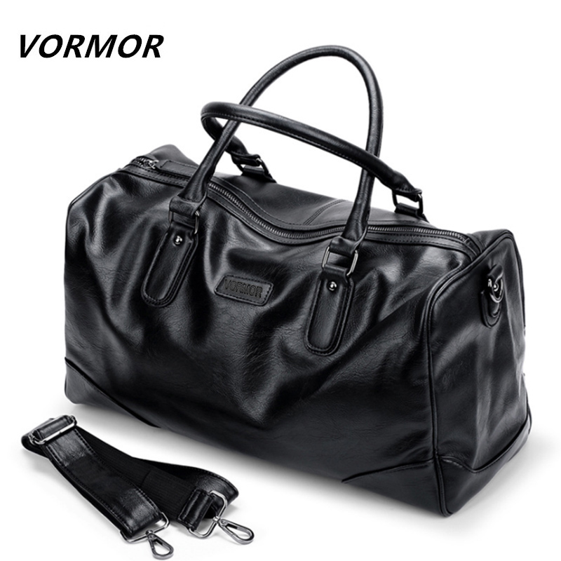 VORMOR PU Leather Men Travel Bags Carry on Luggage Bags Men Duffel Bag Travel Tote Large Weekend Bag Overnight high Capacity augur new canvas leather carry on luggage bags men travel bags men travel tote large capacity weekend bag overnight duffel bags