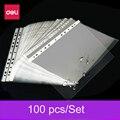 Deli hole A4 100 шт.  сумка для хранения данных  Защитная Сумка для документов  прозрачные пластиковые вставки  контейнер  папка для листов  перфори...