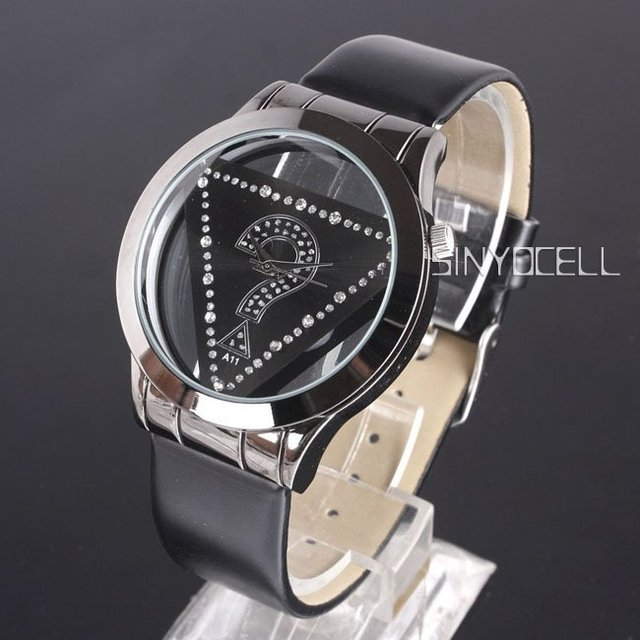 Black Leather Band Quartz Women Watch Stainless Steel Back Rim Crystal N0374