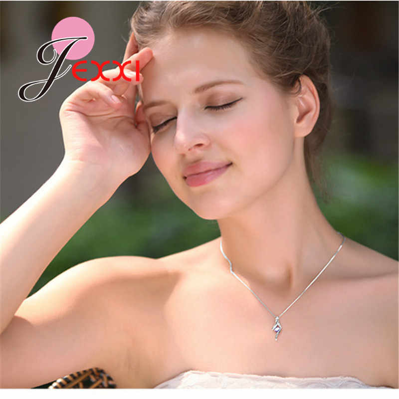 Genuine 925 Sterling Silver NEW Fashionable Design Pendant Necklace CZ Wedding Jewelry Pretty Chain For Women/Grils