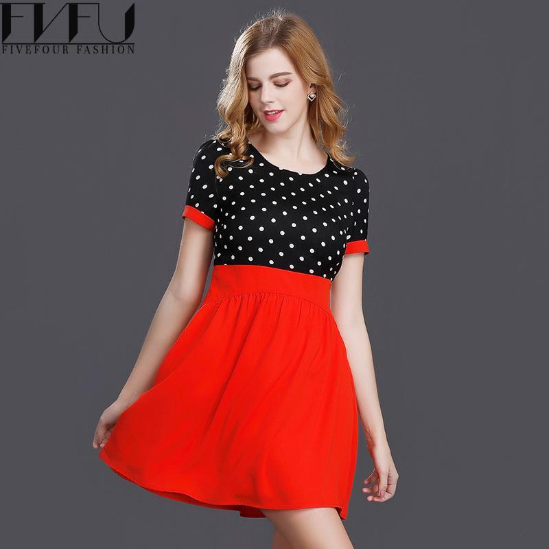Fashion 2017 Women Dress Summer Fake Two Pieces Black Red Polka Dot ...