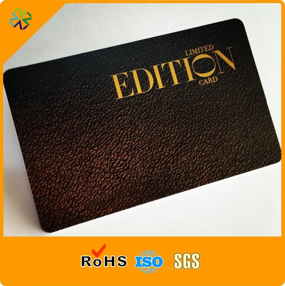 Hot stamping matte black pvc plastic business visiting card